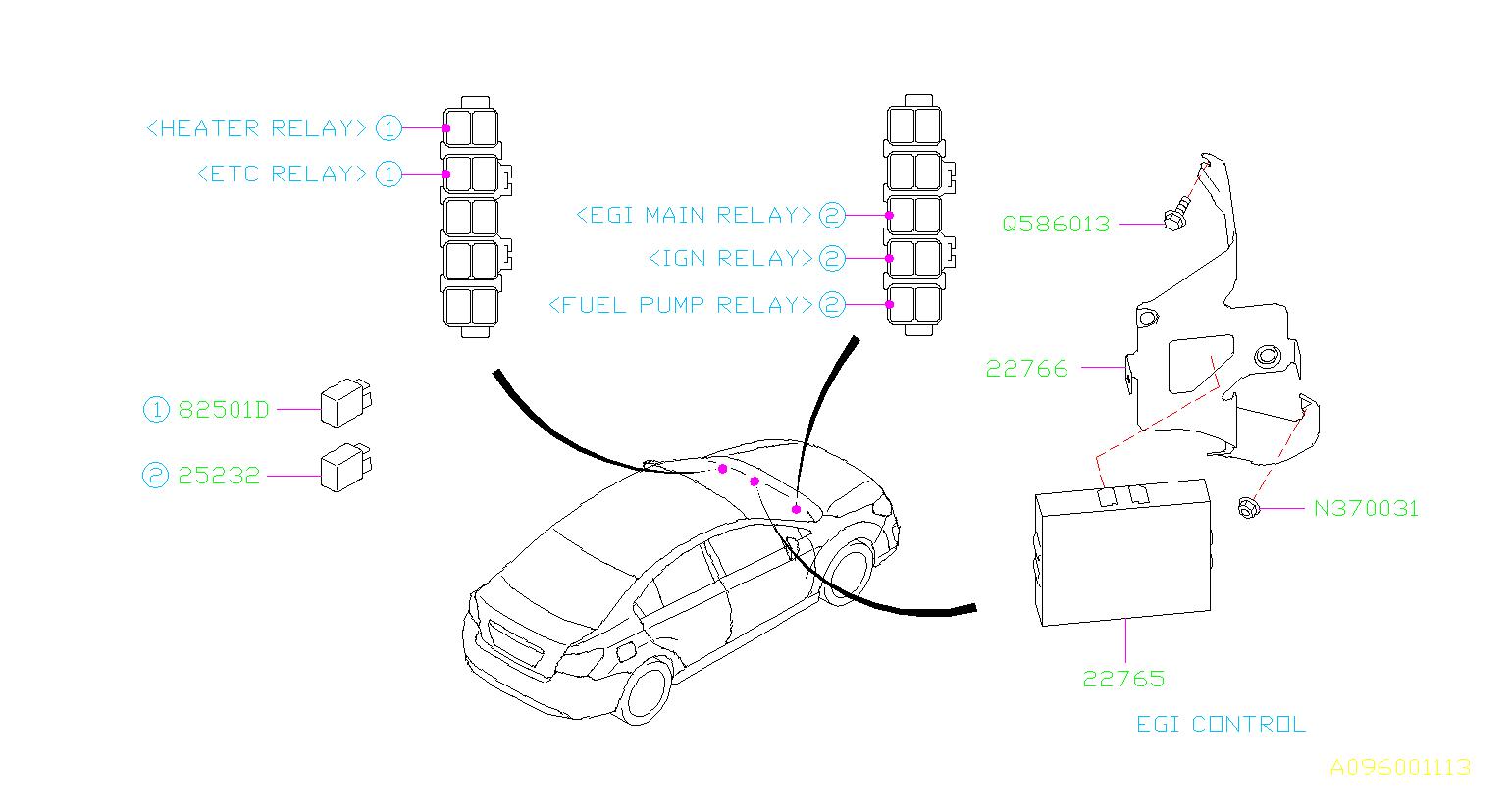 Subaru Impreza Unit Egi Control Engine Sensor Relay