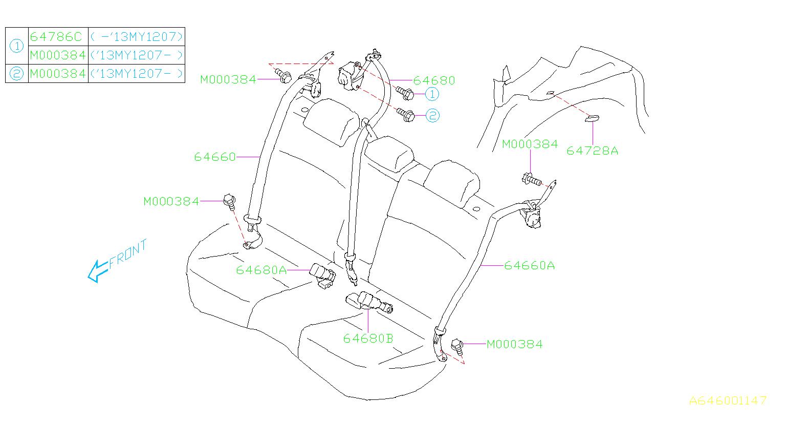 Subaru Crosstrek Seat Belt Center Left Rear Interior