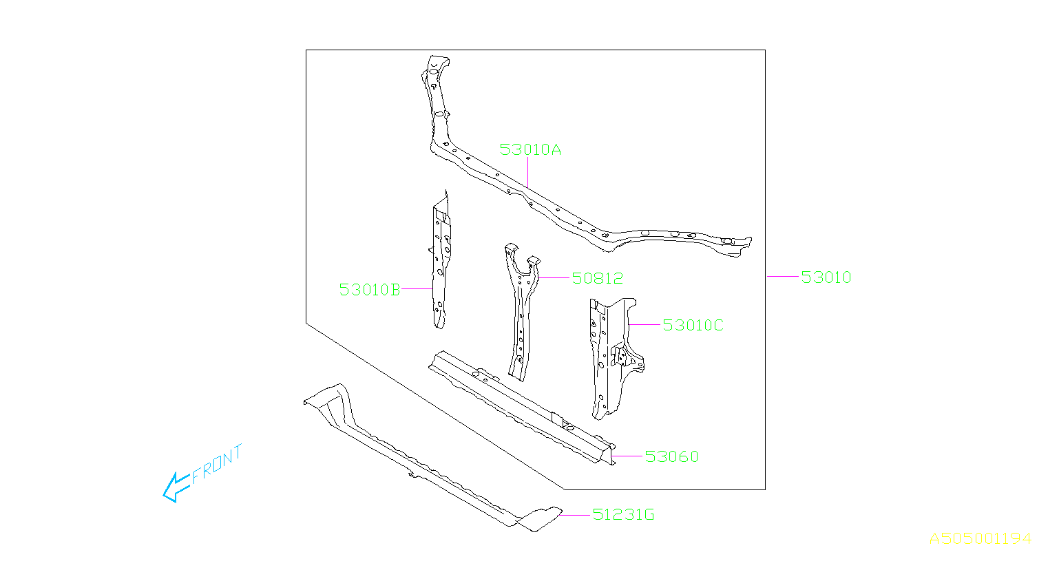 Subaru Forester Radiator Support Tie Bar (Lower). Frame