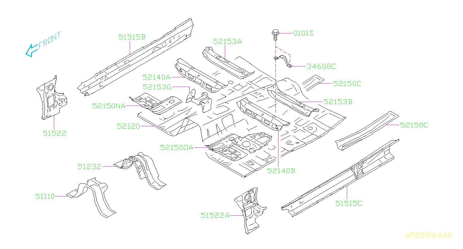 Subaru Forester Floor pan-front. Panel, body