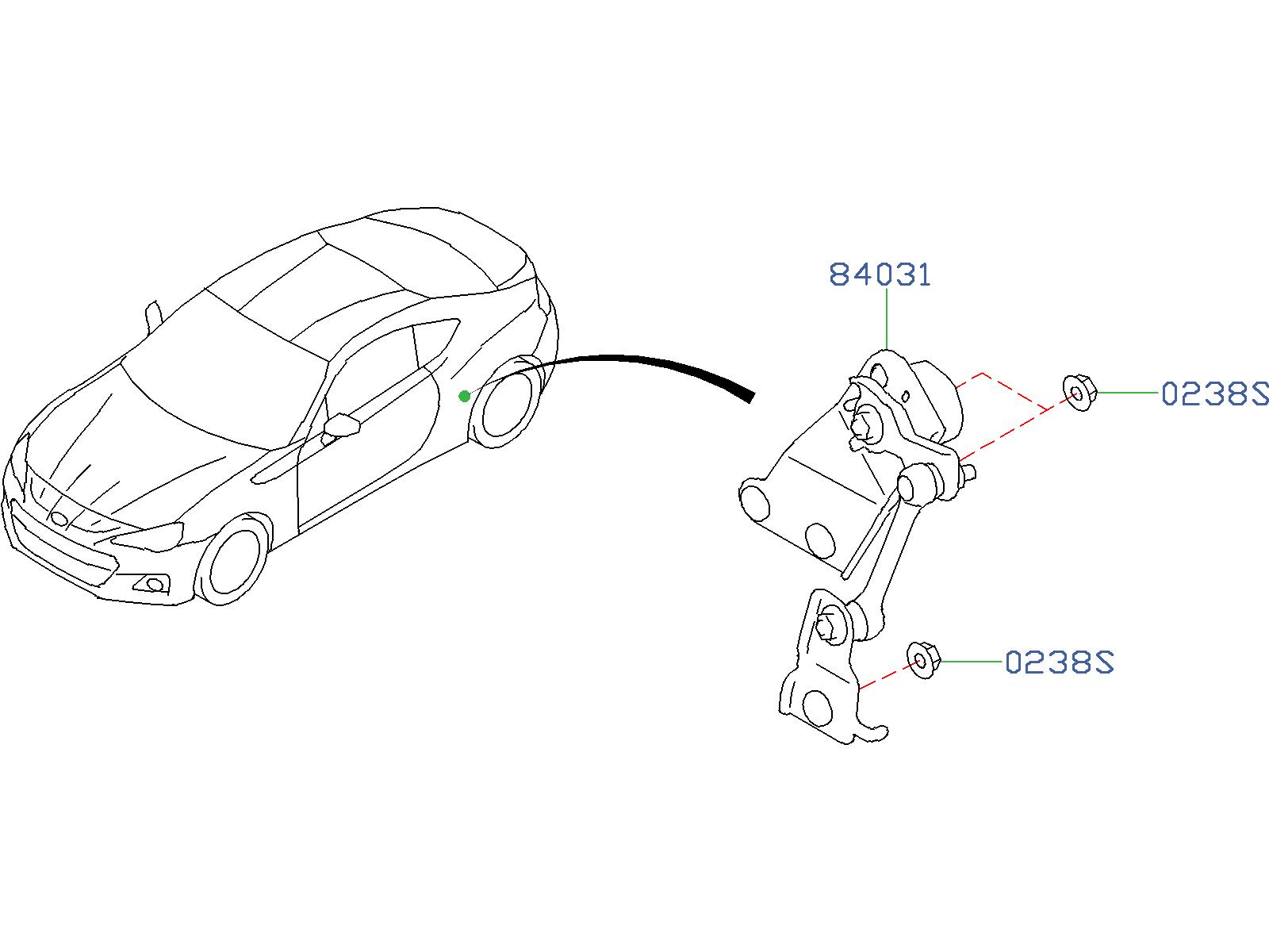 Subaru BRZ Sensor Head Lamp Leveler. (Rear). ELECTRICAL