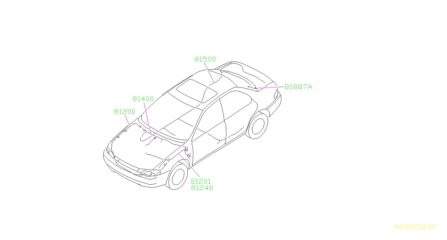 Subaru Impreza Wiring Harness. (Front). MAIN, Electrical