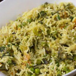 Methi Matar Pulao Recipe | Methi Peas Pulav Recipe - Subbus Kitchen