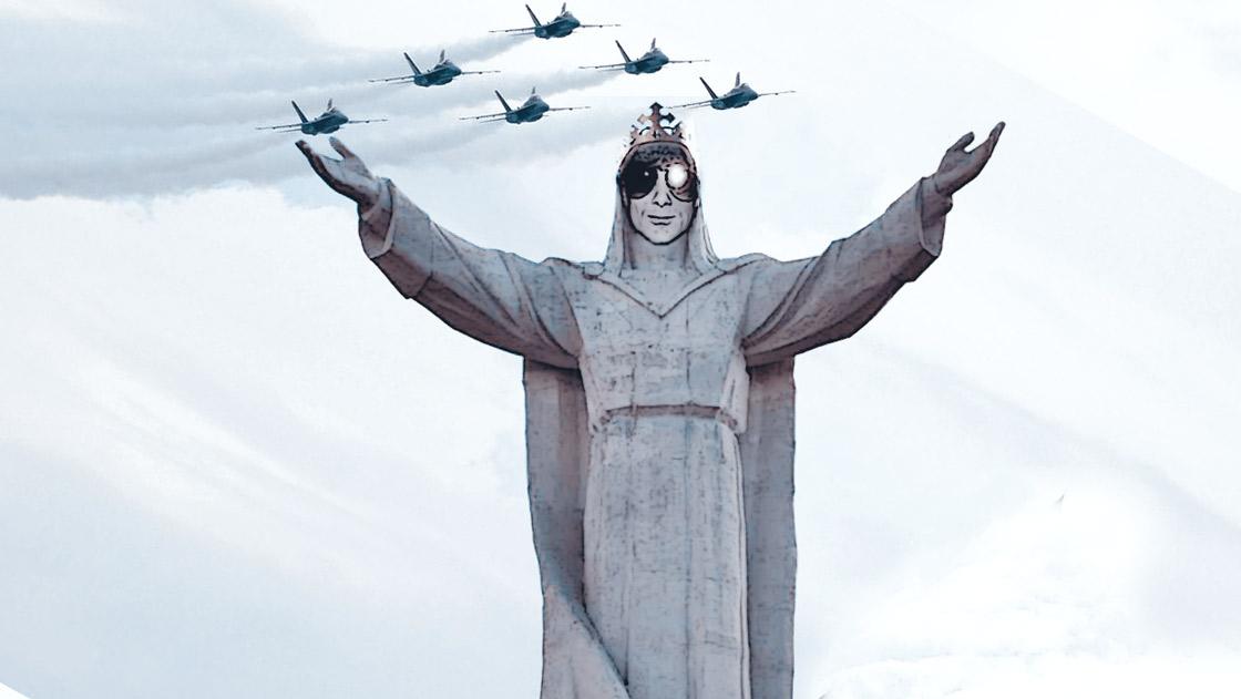 Kristjan Knall als Jesus-Statue mit Tornadojets im Hintergrund