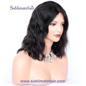 Front lace wig naturel, couleur noir, wavy.13 x 6LFWSBOB demo 01
