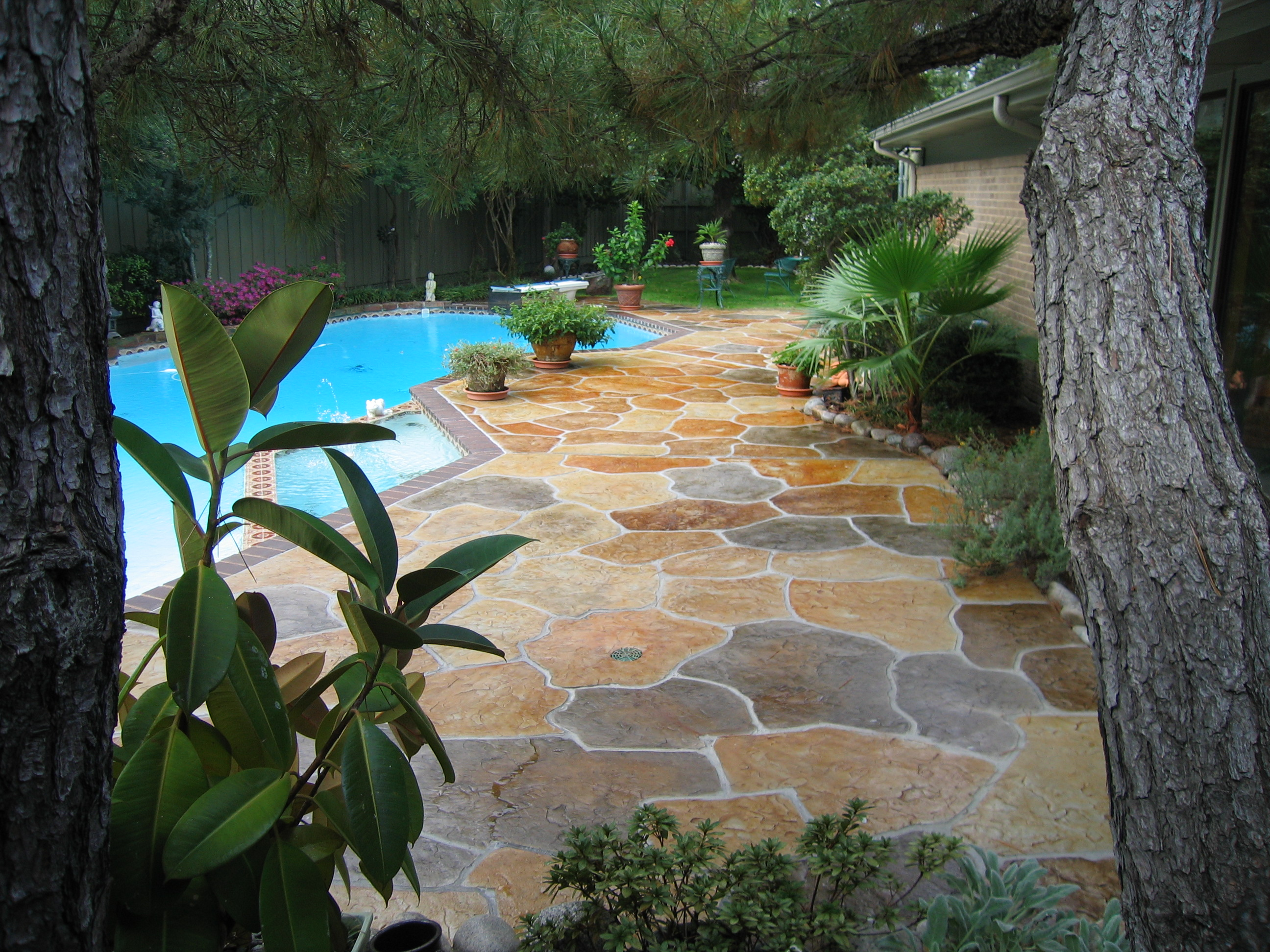 stamped concrete acid stain polished