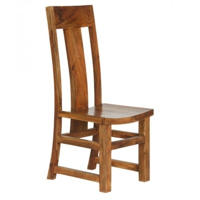 WOOD DINING CHAIR WITH INCLINED BACK