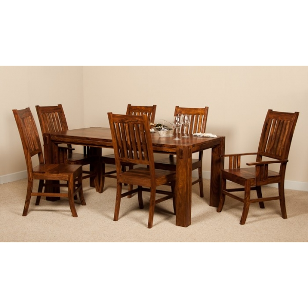 SHEESHAM 6 SEATER DINING SET WITH ARMCHAIRS