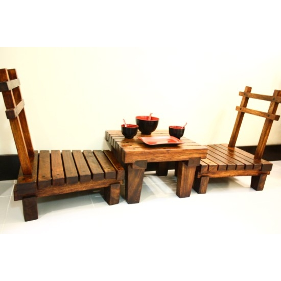 JAPANESE STYLE LOW DINING TABLE SET