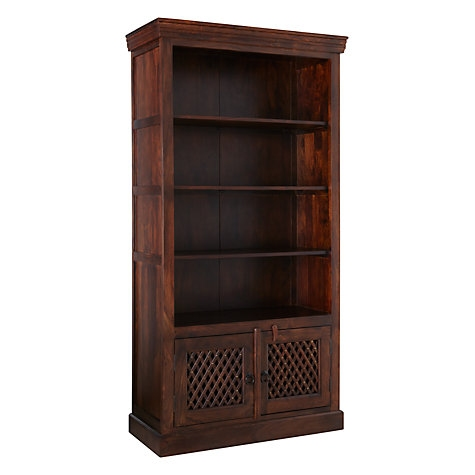 WOODEN BOOKCASE LARGE WITH WOODEN JALI ARTWORK