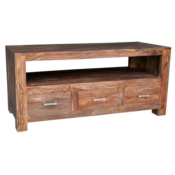SHESHAM WOOD TV CABINET WITH 3 DRAWERS