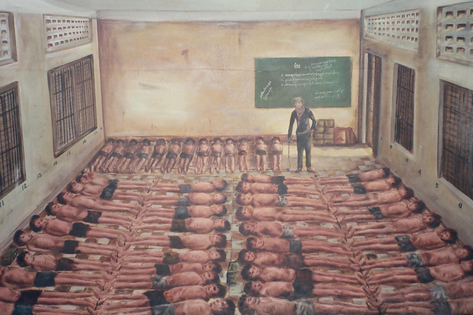 Une école transformée en salle de torture et de mouroir. Source: subliminal.org