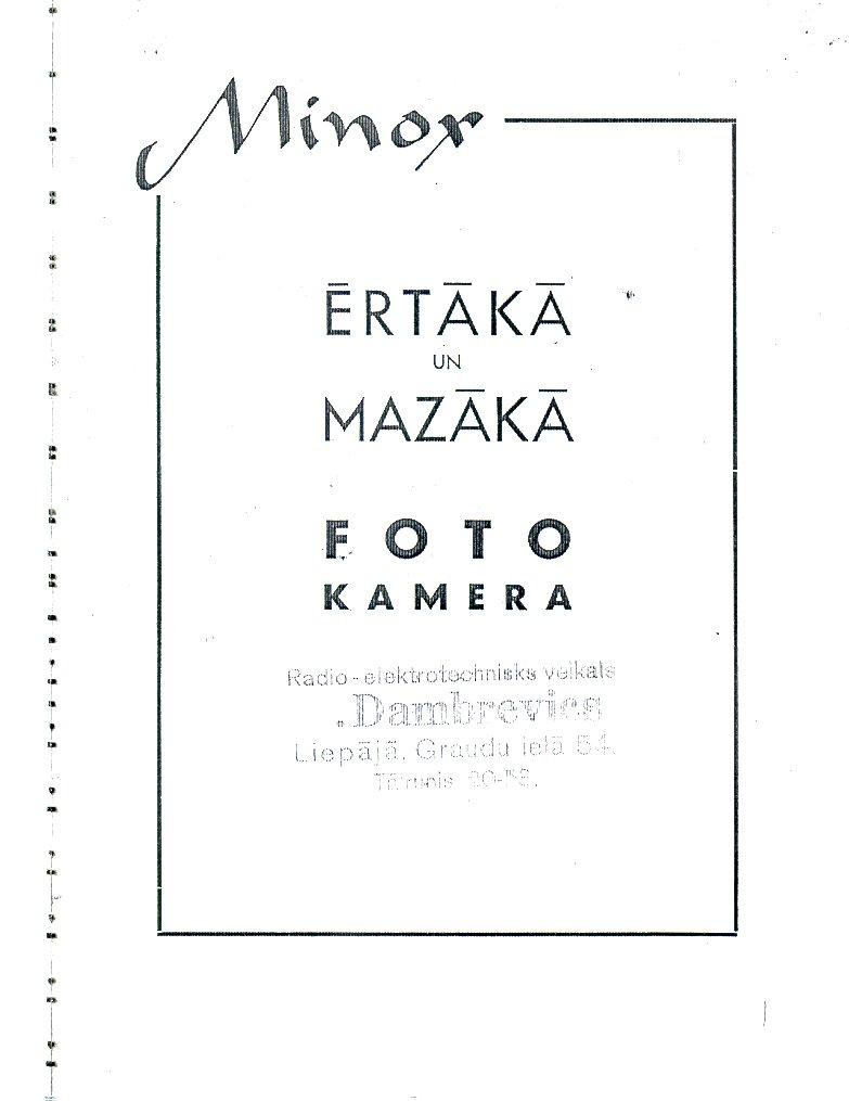 Minox Riga Manual & Exposure Table