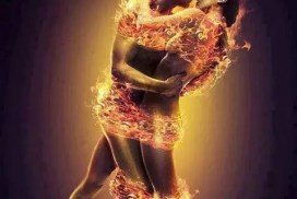 naked couple wrapped in flames - power exchange
