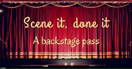 Schoolgirl scene - theatre curtains which say scene it, done it a backstage pass