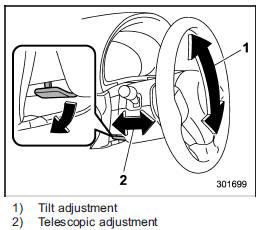 Tilt/telescopic steering wheel :: Instruments and controls