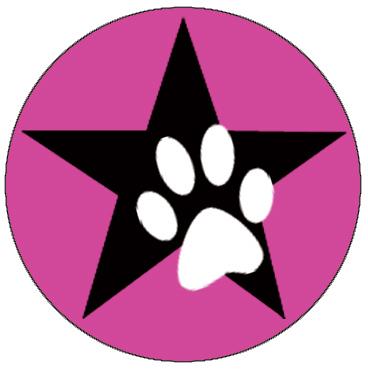 pinker button mit stern & pfote
