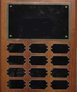 12 Plate Walnut Finish Perpetual Plaque