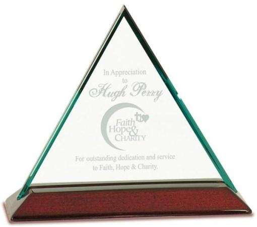 """6"""" Triangle Glass Award on a Rosewood Base"""