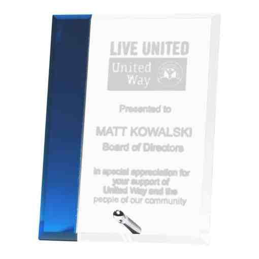 Blue Stripe Glass Award G2854