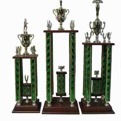 Four Column Trophy with Walnut Finish Base