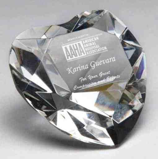 Heart Crystal Paperweight Award