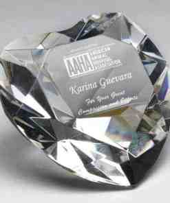 Heart Crystal Paperweight Award