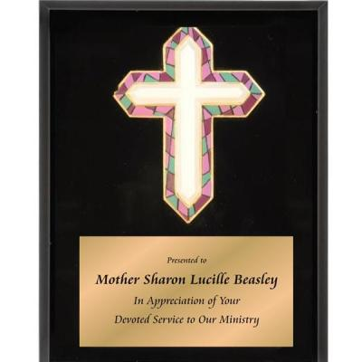 Stained Glass Cross Plaque