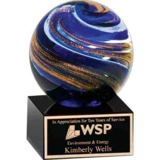 Swirling Globe Art Glass Award