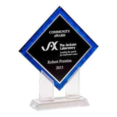 blue diamond shaped award
