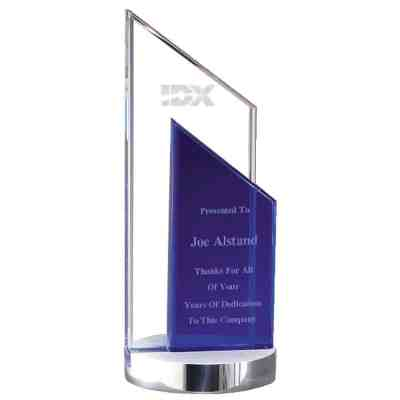 Cool Blue Tower Crystal Award