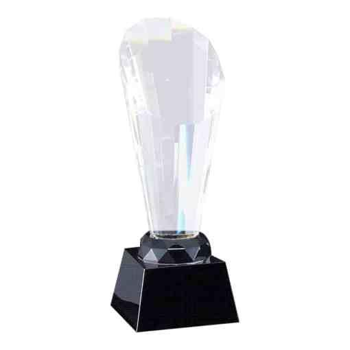 Faceted Optic Crystal Award on a Black Base