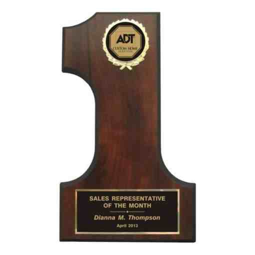 Plaque shaped like the number 1