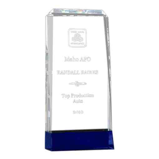 Thick Crystal Award on a Cobalt Blue Base