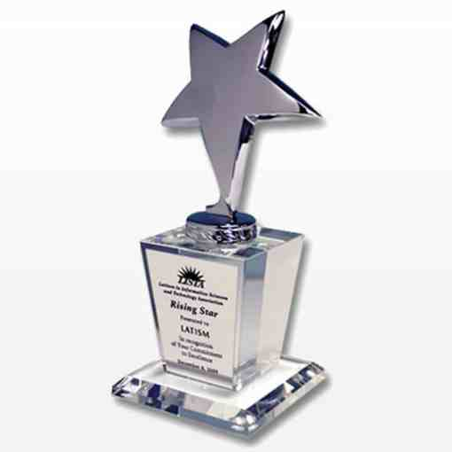 Silver Star Award on Crystal Base ~ Plate