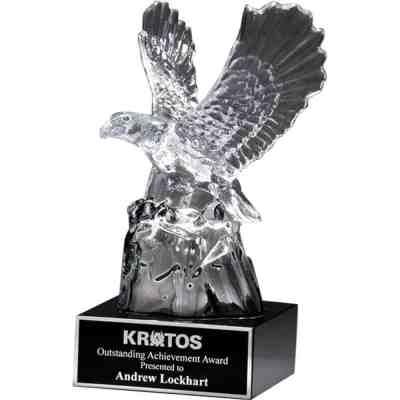 Carved Crystal Eagle on Black Base K9117