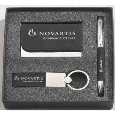 Pen, Keyring, Cardholder Black Leather Gift Set