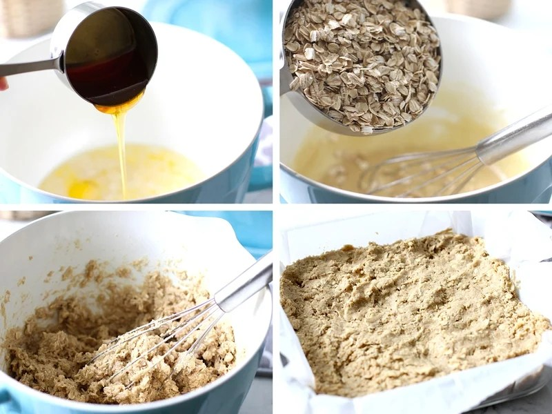 The steps for making easy oatmeal bars.