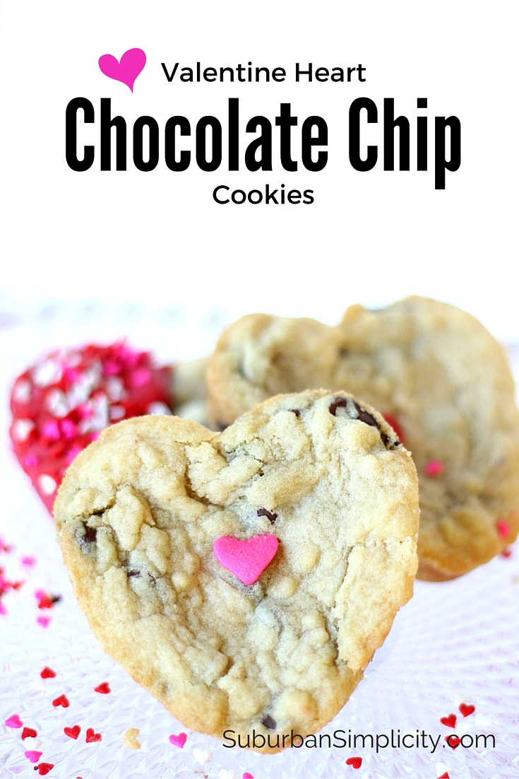 Valentine's Day Chocolate Chip Cookies - the perfect homemade gift for your sweetheart.  Soft, chewy and delicious!  A cookie recipe worth pinning! #dessert #chocolate