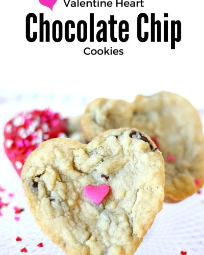 Valentine Heart Chocolate Chip Cookies - the perfect homemade gift for your sweetheart. Soft, chewy and delicious! A cookie recipe worth pinning!