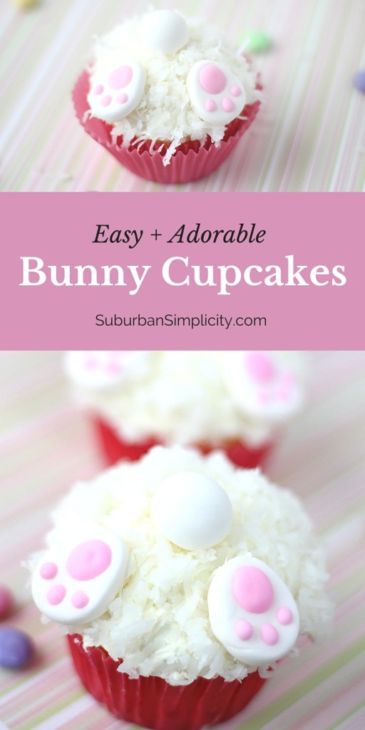 These Bunny Cupcakes are an easy way to decorate for Easter! Such a simple and cute cupcake idea even the kids could do!   Bunny Butt Cupcakes