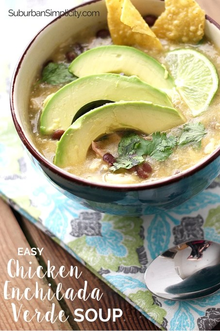 This is one of the easiest and best tasting Chicken Enchilada Verde Soup recipes around! It has so much flavor you'll think it's been simmering for hours - but only takes 30 minutes! | Easy Dinner Recipe