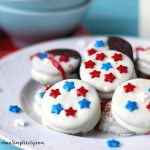 Patriotic Oreos on a plate.