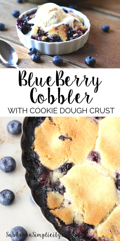 Blueberry Cobbler with Cookie Dough Crust is the best dessert idea ever! Spoonfuls of buttery sugar cookie dough are placed over the blueberry filling to create a golden cookie crust that's amazing!