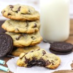 Love Oreos? Then you HAVE to try this Oreo Stuffed Chocolate Chip Cookies recipe. Homemade chocolate chip cookies with an Oreo cookie nestled inside! Best Cookie Ever!
