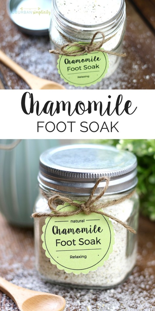 Chamomile foot soak is a wonderful DIY to pamper and soothe your feet. This homemade stress reliever is super easy and inexpensive to make and is also a perfect gift idea.