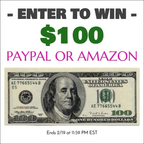 Happy February! It's time for $100 Amazon Gift Card or PayPal Giveaway! Yahoo! Enter now for your chance to win an Amazon Gift Card or PayPal cash!