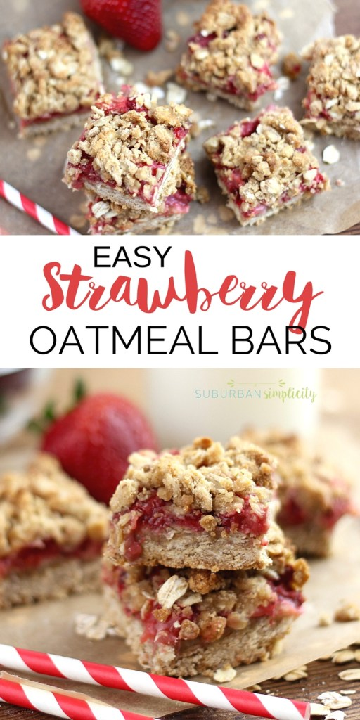 Easy Strawberry Oatmeal Bars filled with fresh strawberries and a delicious crumbly topping. A healthy breakfast or snack idea you'll fall in love with!
