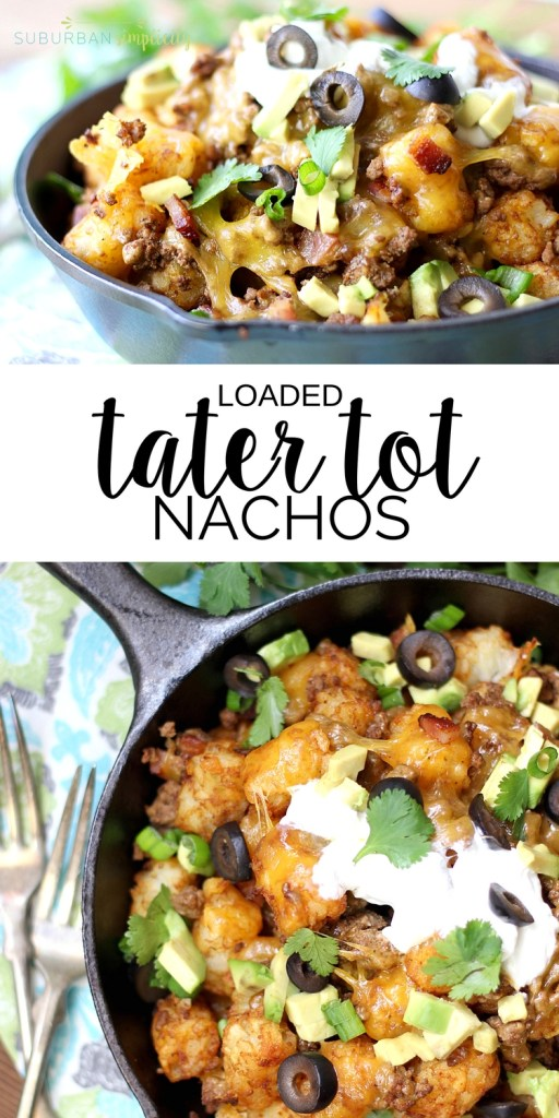 Enjoy the ultimate appetizer - Loaded Tater Tot Nachos!  An irresistible recipe with crispy tots, cheese and meat will have you coming back for seconds and thirds!