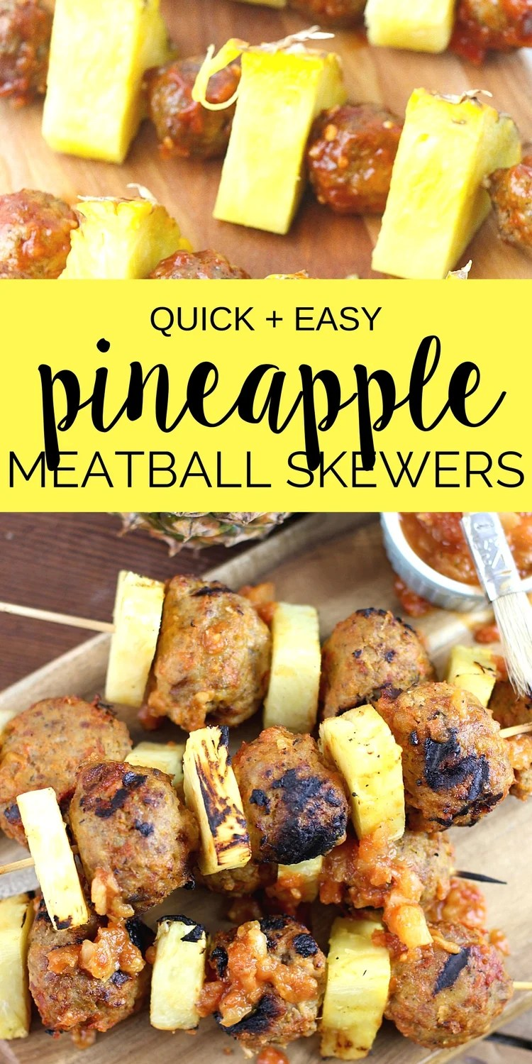You have to try these easy Grilled Pineapple Meatball Skewers! A simple dinnerrecipethat's kid-friendly and on the table in less than 20 minutes! #pineapple #kabobs #easyrecipe